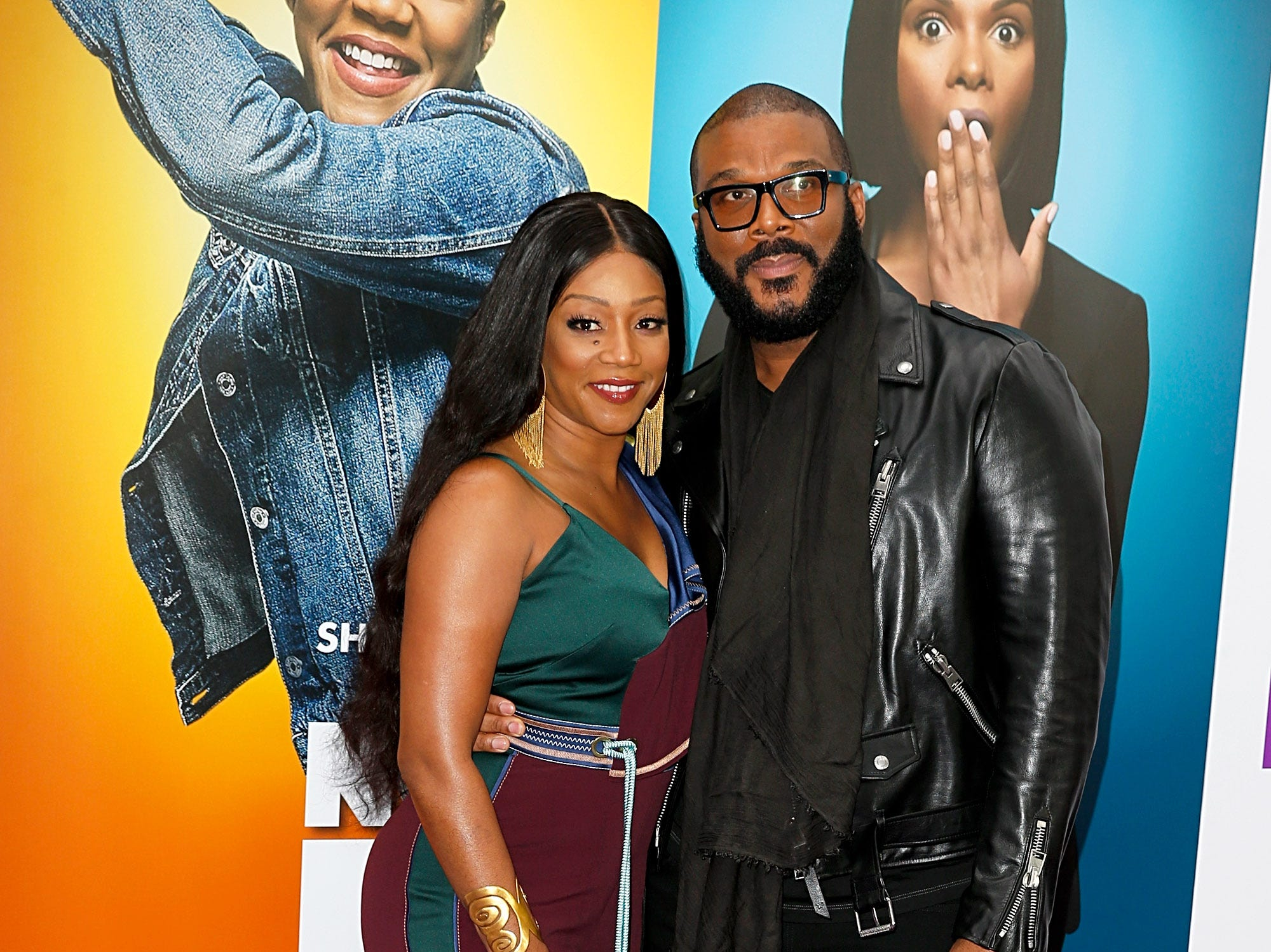 "Tiffany Haddish and Tyler Perry attend the ""Nobody's Fool"" New York premiere on Oct. 28, 2018, in New York City."