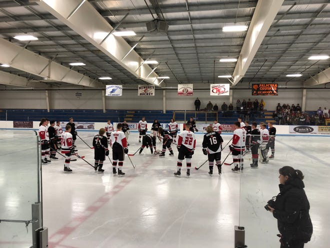 The Annville-Cleona and Warwick ice hockey teams joined forces on Monday night to honor the two Warwick High School students who were killed in a car crash last week. Prior to their CPIHL game at Klick Lewis Arena, the teams held a moment of silence and presented flower bouquets in memory of the two students, Meghan Keeney and Jack Nicholson.