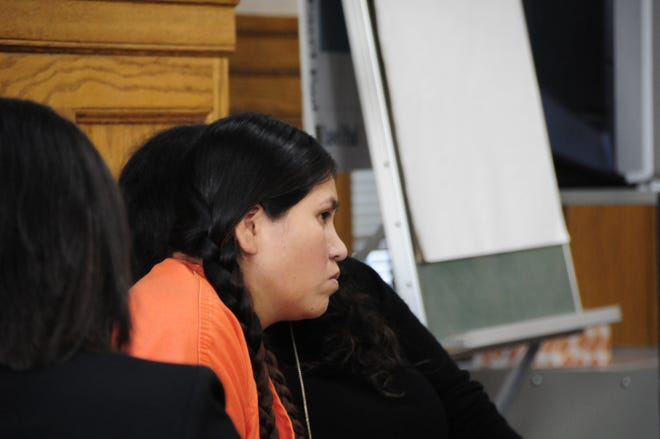 Francisca Vargas-Castillo listens to an interpreter during a hearing Tuesday, Oct. 30, 2018 in Sanilac District Court.