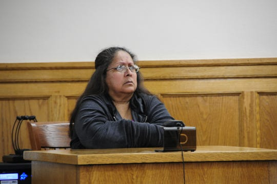 Cruz Mary Ramos testifies Tuesday, Oct. 30, 2018 in Sanilac District Court during a hearing for Leobardo Torres-Castillo and Francisca Vargas-Castillo.