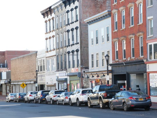 Cars parked on Main Street near Academy Street in the City of Poughkeepsie on October 30, 2018.