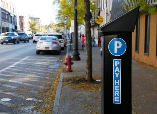 A parking pay station on Main Street in the City of Poughkeepsie on October 30, 2018.
