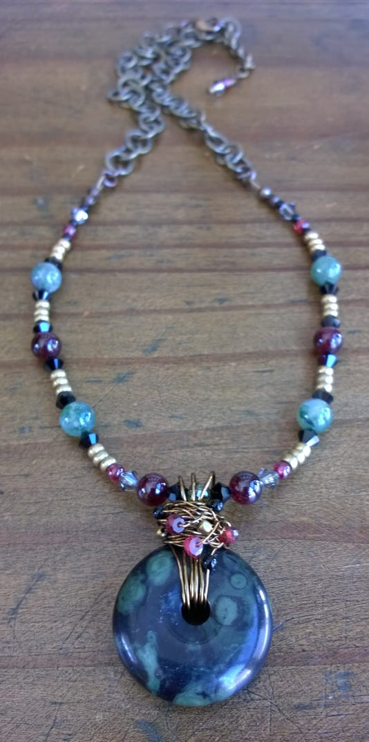 Enjoy Dh Susan Bores Antiqued Brass Necklace With Kambaba Jasper And Garnet