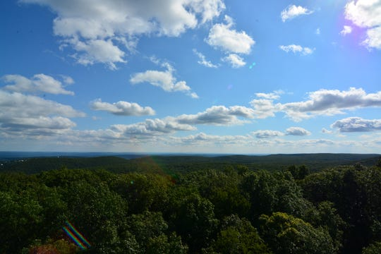 The top of Jackie Jones Mountain Fire Tower offers 360-degree views and a glimpse of the New York City skyline.