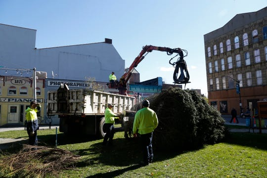 A City of Poughkeepsie DPW crew sets up the city's Christmas Tree in Mural Square on October 30, 2018. The tree, a Colorado Blue Spruce was donated anonymously through the Arcdadia Fields Tree Farm in Clinton Corners.