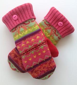 Artisan Sharon Emmett repurposes cashmere sweaters into cozy mittens.