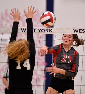 Dover's Emma Davis, seen here in file photo, had 17 kills for the Eagles on Tuesday night vs. Somerset. DISPATCH FILE PHOTO