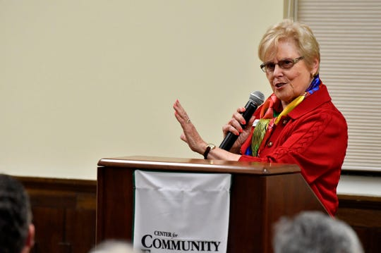 Lois Herr, who is running for PA Senate District 48, speaks at the York College Center for Community Engagement on Monday, Oct. 29, 2018. Candidates night, sponsored by the York Daily Record and York College, invited all candidates in all contested local races, from governor to house representative. It was a chance for the community to get to know the candidate in a setting other than a debate.
