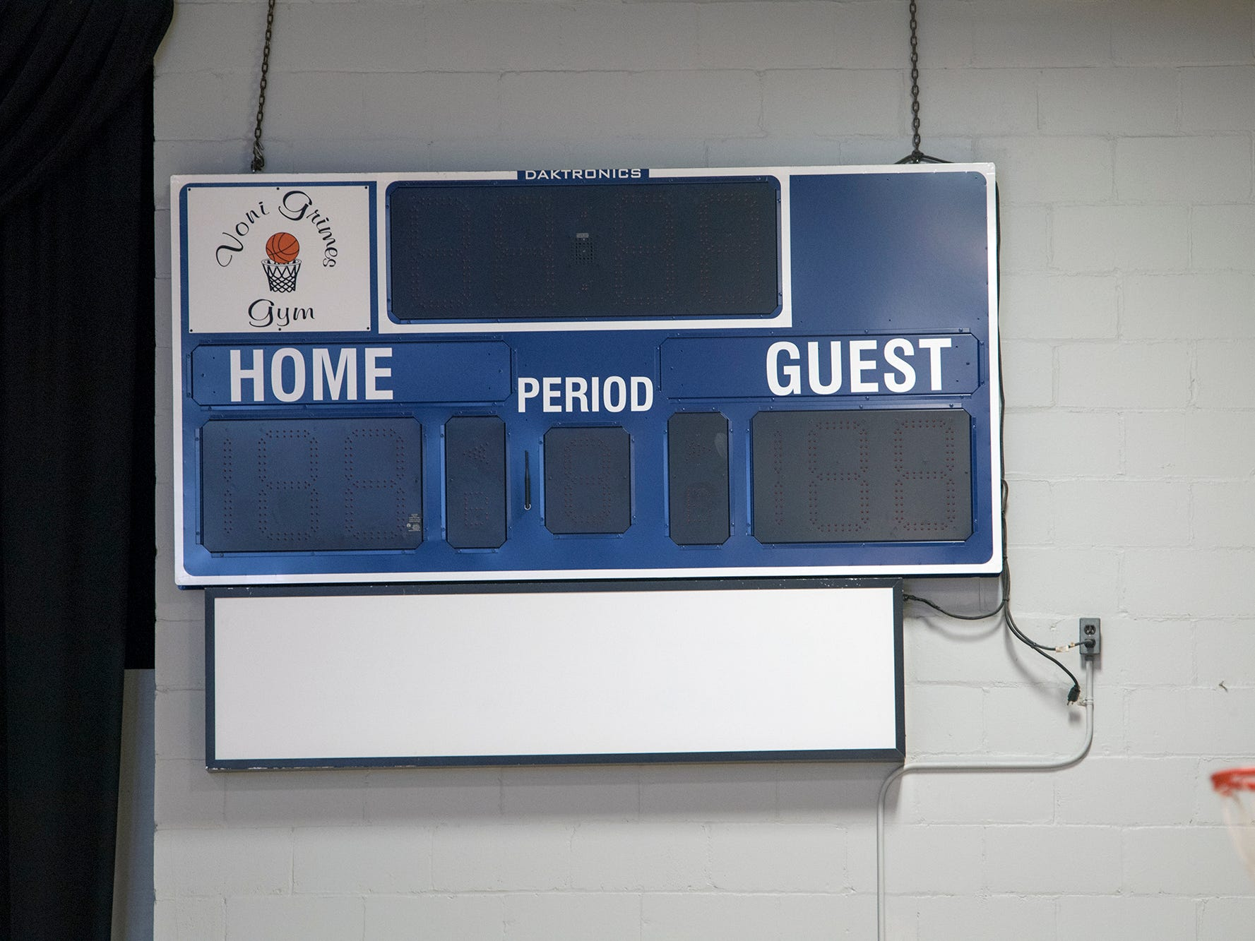 A new scoreboard was part of the interior renovations to Voni Grimes Gym.