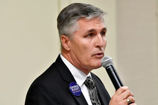George Scott, who is running against Rep. Scott Perry for the US Congress District 10, speaks at the York College Center for Community Engagement on Monday, Oct. 29, 2018. Candidates night, sponsored by the York Daily Record and York College, invited all candidates in all contested local races, from governor to house representative. It was a chance for the community to get to know the candidate in a setting other than a debate.