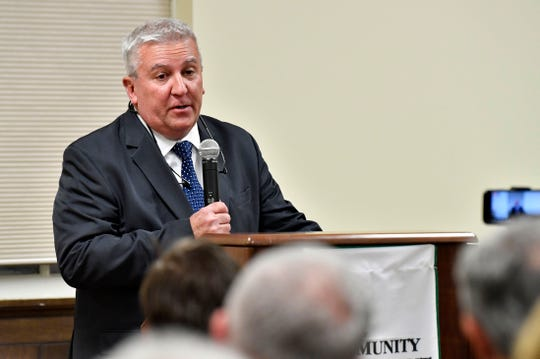 Senator Mike Folmer, of PA Senate District 48, speaks at the York College Center for Community Engagement on Monday, Oct. 29, 2018. Candidates night, sponsored by the York Daily Record and York College, invited all candidates in all contested local races, from governor to house representative. It was a chance for the community to get to know the candidate in a setting other than a debate.