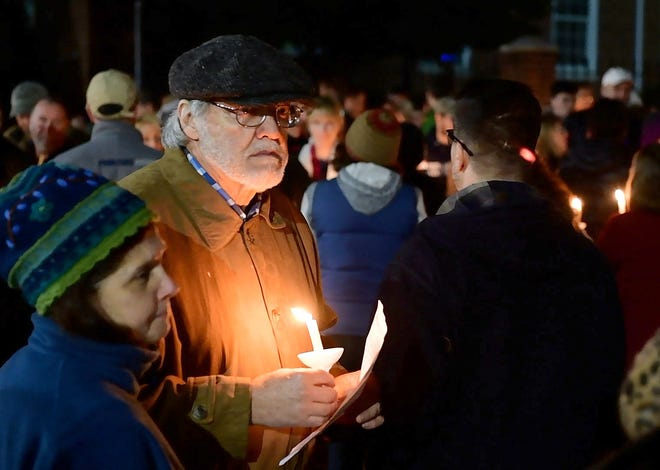 Hundreds gathered for a candlelight vigil in front of York City Hall on Monday. The 'York Vigil against Hate' came in response to the 11 killed in the weekend shooting at Tree of Life synagogue in Pittsburgh.