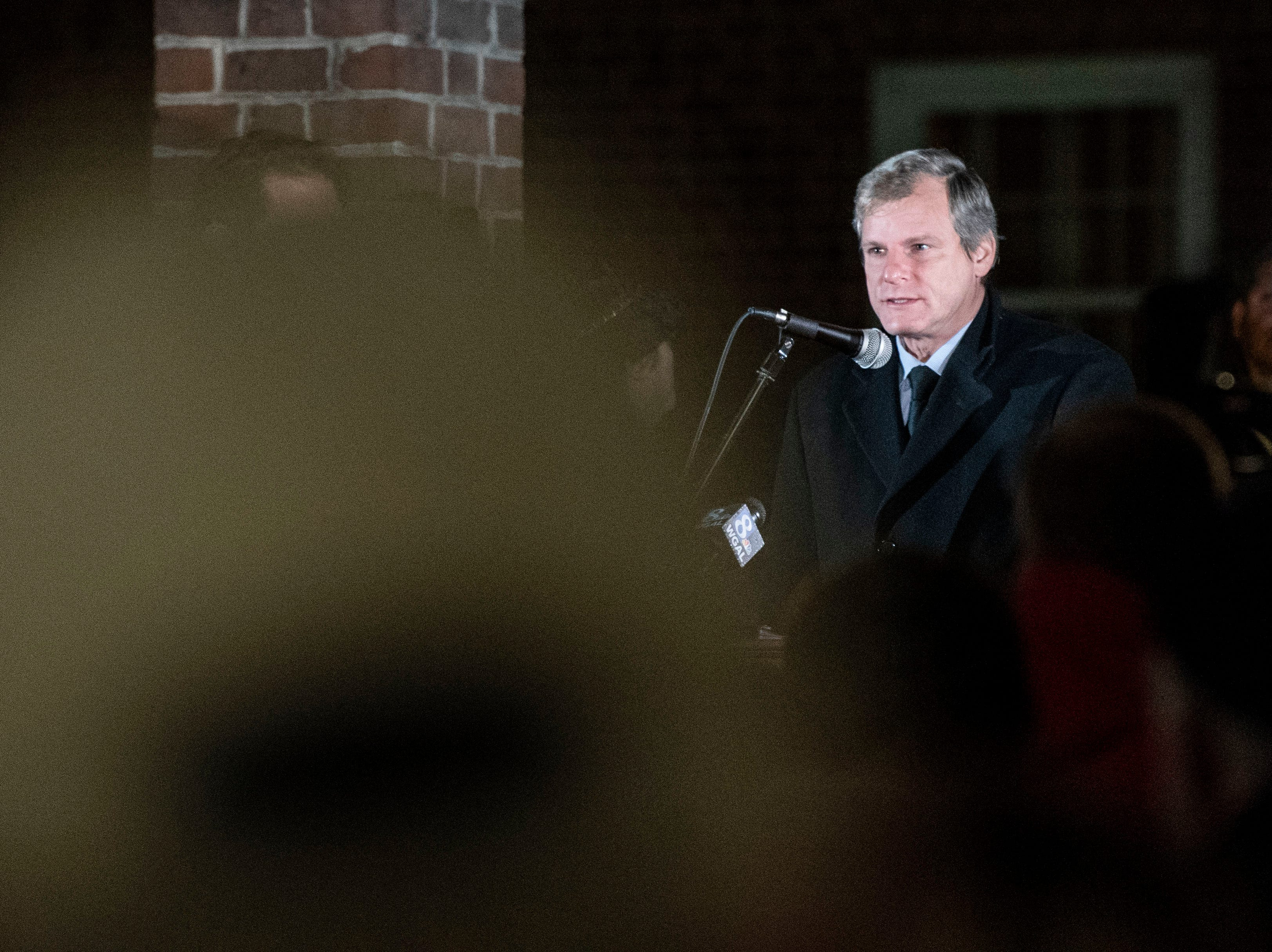 York mayor Michael Helfrich speaks during a candlelight vigil in front of city hall on Monday, Oct. 29, 2018. Hundreds of people gathered for the 'York Vigil against Hate,' mourning the 11 dead from the weekend shooting at Tree of Life synagogue in Pittsburgh.