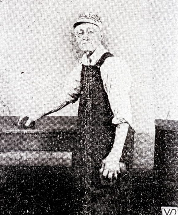 William Henry Hubley had been in the employ of the Pennsylvania Furniture company, West York, for almost 47 years when this picture was taken. He is shown applying a filler to a dresser of a bedroom suite before it is given a coat of glistening varnish.