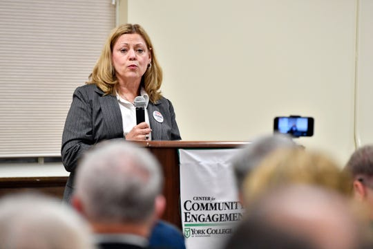 Dr. Judith Higgins speaks about why she is running for PA Senate District 28 at the York College Center for Community Engagement on Monday, Oct. 29, 2018. Candidates night, sponsored by the York Daily Record and York College, invited all candidates in all contested local races, from governor to house representative. It was a chance for the community to get to know the candidate in a setting other than a debate.