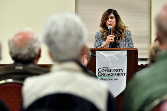 Delma Rivera Lytle, who is running to represent PA House District 93, speaks at the York College Center for Community Engagement on Monday, Oct. 29, 2018. Candidates night, sponsored by the York Daily Record and York College, invited all candidates in all contested local races, from governor to house representative. It was a chance for the community to get to know the candidate in a setting other than a debate.