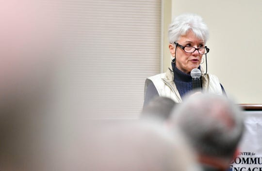 Joan Fulton speaks about Steve Snell, who is running for the PA House District 94, at the York College Center for Community Engagement on Monday, Oct. 29, 2018. Candidates night, sponsored by the York Daily Record and York College, invited all candidates in all contested local races, from governor to house representative. It was a chance for the community to get to know the candidate in a setting other than a debate.