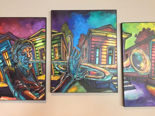 The new Rue Bourbon in Midtown Reno features art purchased in New Orleans, like this vibrant triptych.