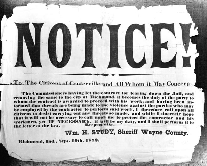 On Sept. 19, 1873, strong notice was given from Wayne County Sheriff William Study to Centerville residents resisting the removal of the county seat.