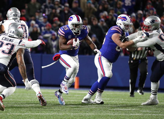 Bills running back LeSean McCoy finds a hole at the line of scrimmage.
