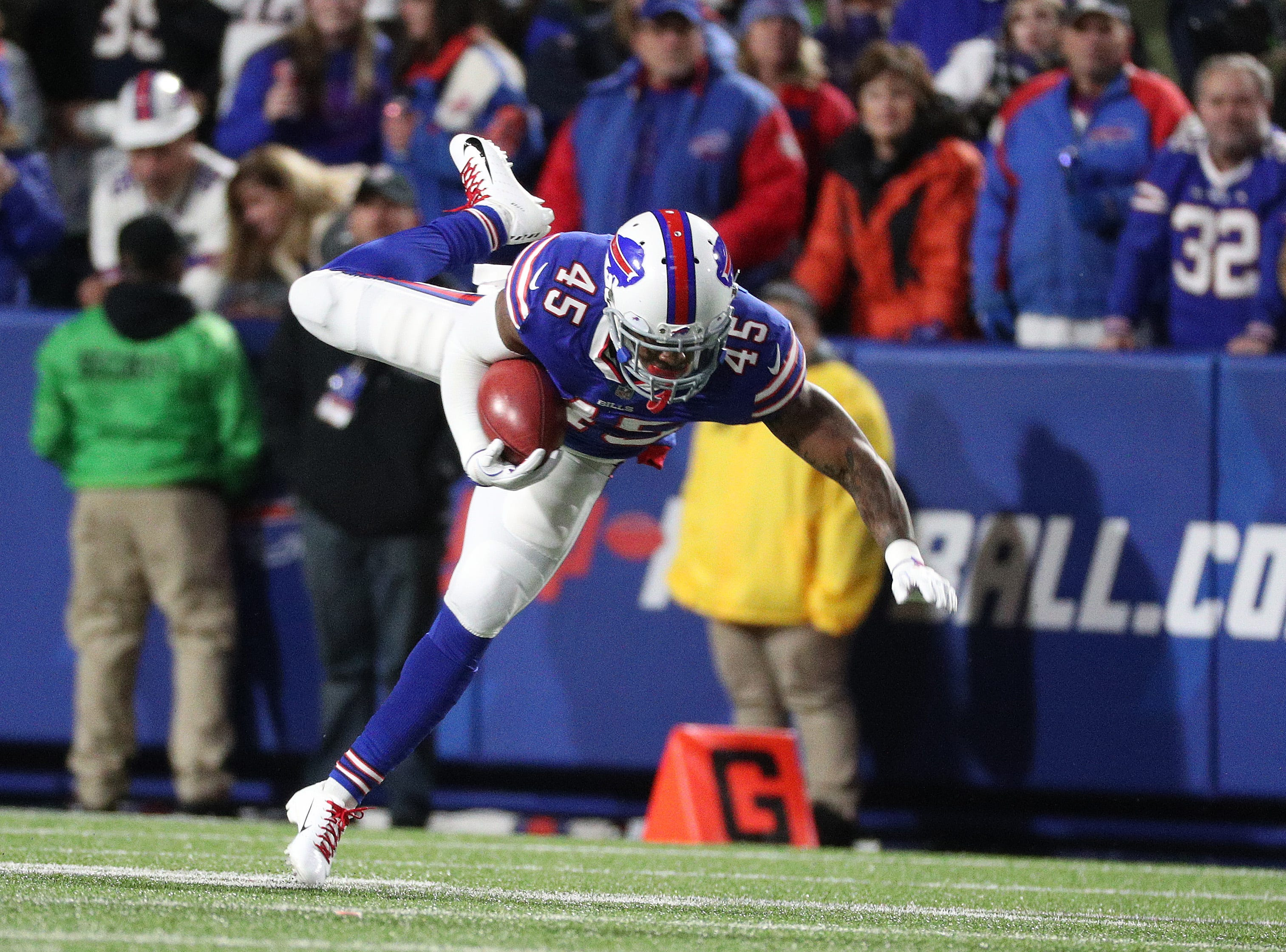Bills kickoff returner Marcus Murphy is upended after a good return.