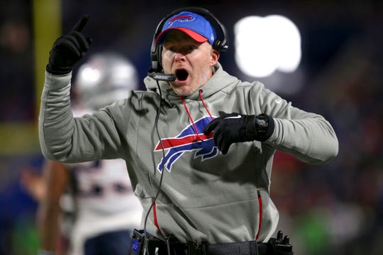 Buffalo Bills head coach Sean McDermott argues with NFL field judge Dale Shaw, not pictured, during the first half of an NFL football game against the New England Patriots, Monday, Oct. 29, 2018, in Orchard Park, N.Y. (AP Photo/Jeffrey T. Barnes)
