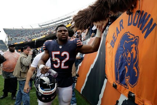 Chicago Bears linebacker Khalil Mack (52) was obtained in a trade with Oakland. The former University of Buffalo star returns to Buffalo again on Sunday but will he play? He's recovering from an ankle injury and Bears may rest him.