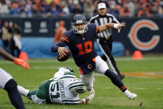 Chicago Bears quarterback Mitchell Trubisky (10), the No. 2 overall pick in 2017, is a threat to run or pass. He brings his game to New Era Field on Sunday.
