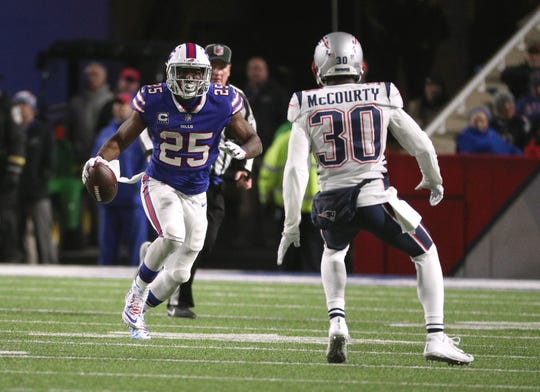 Bills LeSean McCoy looks for running room against the Patriots.  McCoy only ran for 13 yards but caught six passes  for 82 yards.
