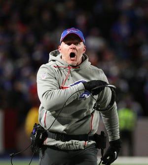 Bills head coach Sean McDermott disagrees with a n official.