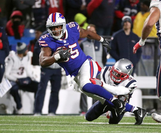 Bills tight end Charles Clay making a catch over the middle.