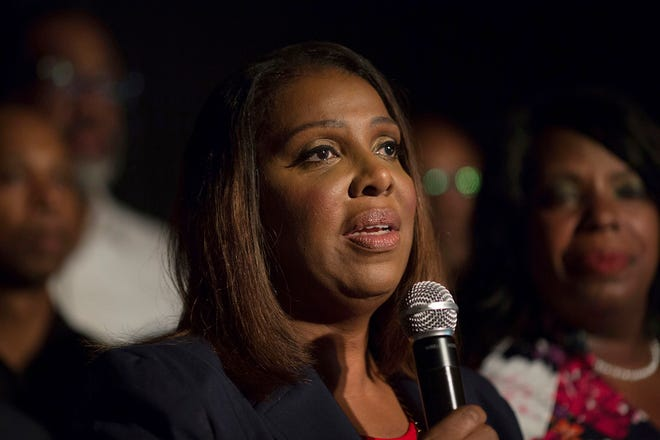 Letitia James delivers a victory speech after winning the primary election for attorney general Thursday, Sept. 13, 2018, in New York. (AP Photo/Kevin Hagen).