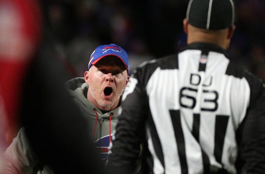 Bills head coach Sean McDermott pleads his case with official Mike Carr in a 25-6 loss to the Patriots.