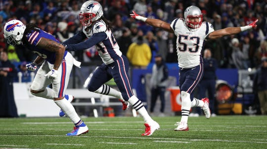 Kyle Van Noy (53) of the Patriots helps the official make call on this incomplete pass intended for Kelvin Benjamin on Monday night.