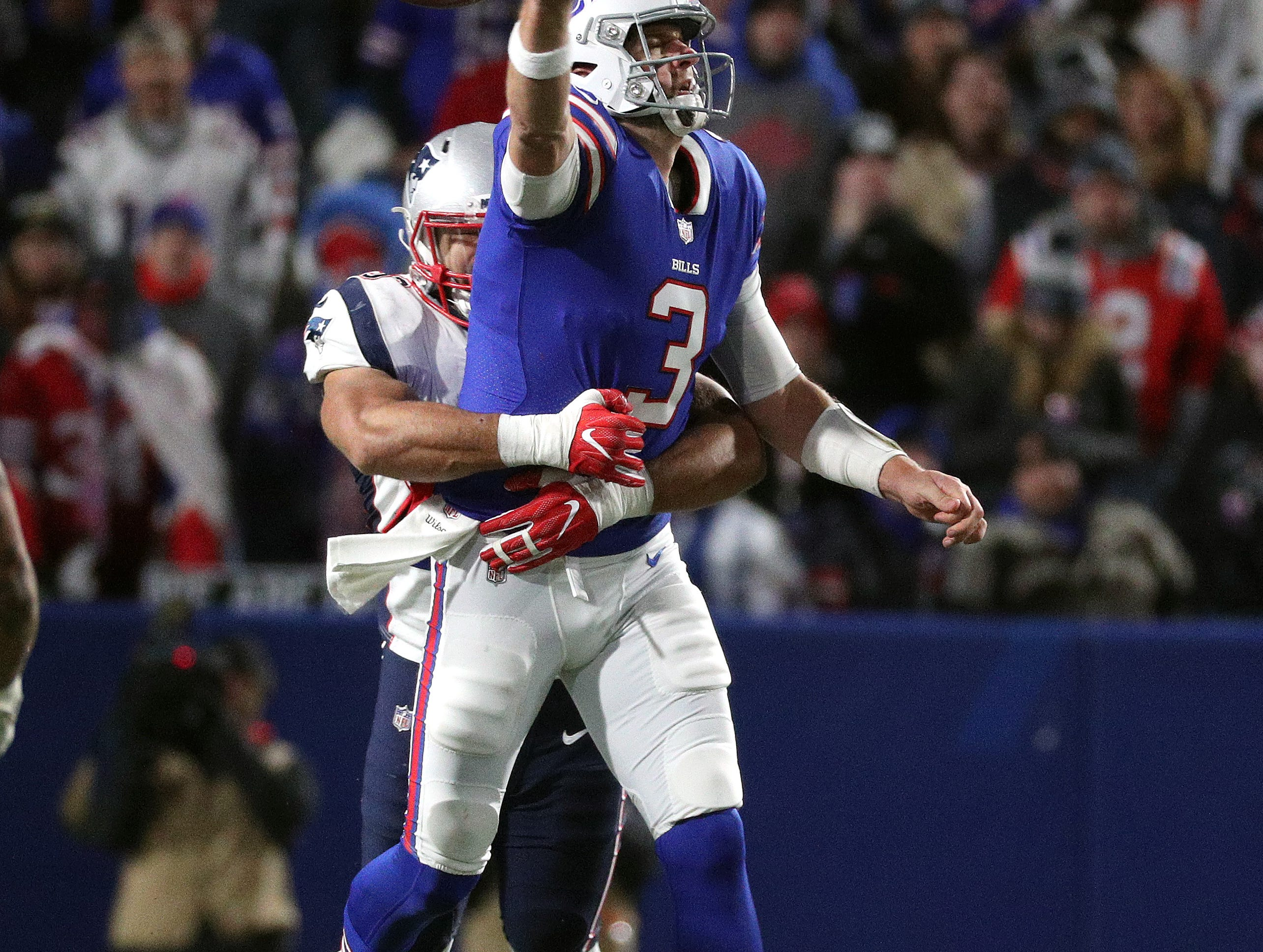 Bills quarterback Derek Anderson is sacked and loses this fumble by Patriots Kyle Van Noy.