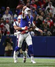 Bills quarterback Derek Anderson is sacked and loses this fumble by Patriots Kyle Van Noy.