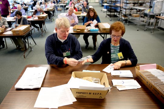 Dennis Strand and Cathie Richie sort ballots at the Marion County Elections Office in Salem on Tuesday, Oct. 30, 2018.