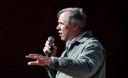 Sen. Jeff Merkley, D-Ore., speaks during a rally in Portland, Ore., Oct. 17, 2018. Merkley, a frequent critic of President Donald Trump, is seriously considering a run for the White House.