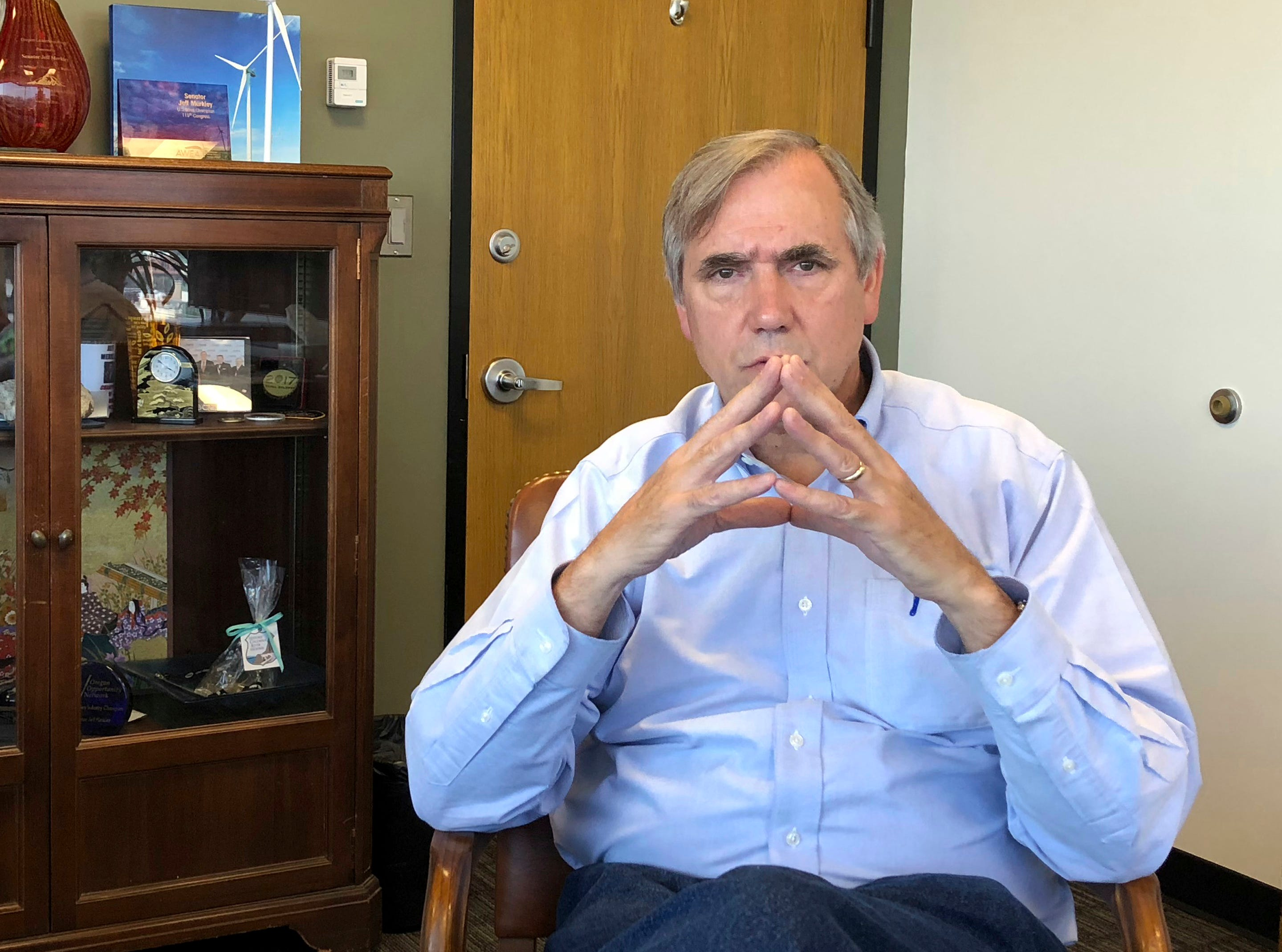 Sen Jeff Merkley, D-Ore., is shown during an interview in his office in Portland, Ore., Sept. 7, 2018. Merkley, a frequent critic of President Donald Trump, is seriously considering a run for the White House.