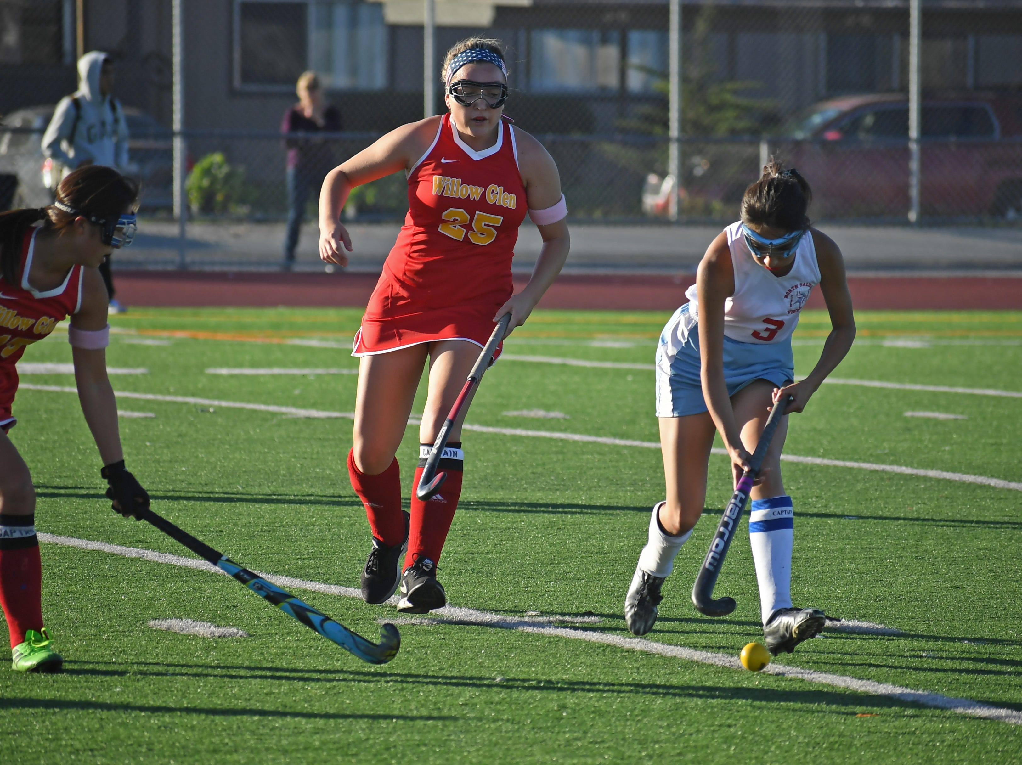 Midfielder Emily Ruelas (3) chases down the ball following a missed pass by the Willow Glen forwards.