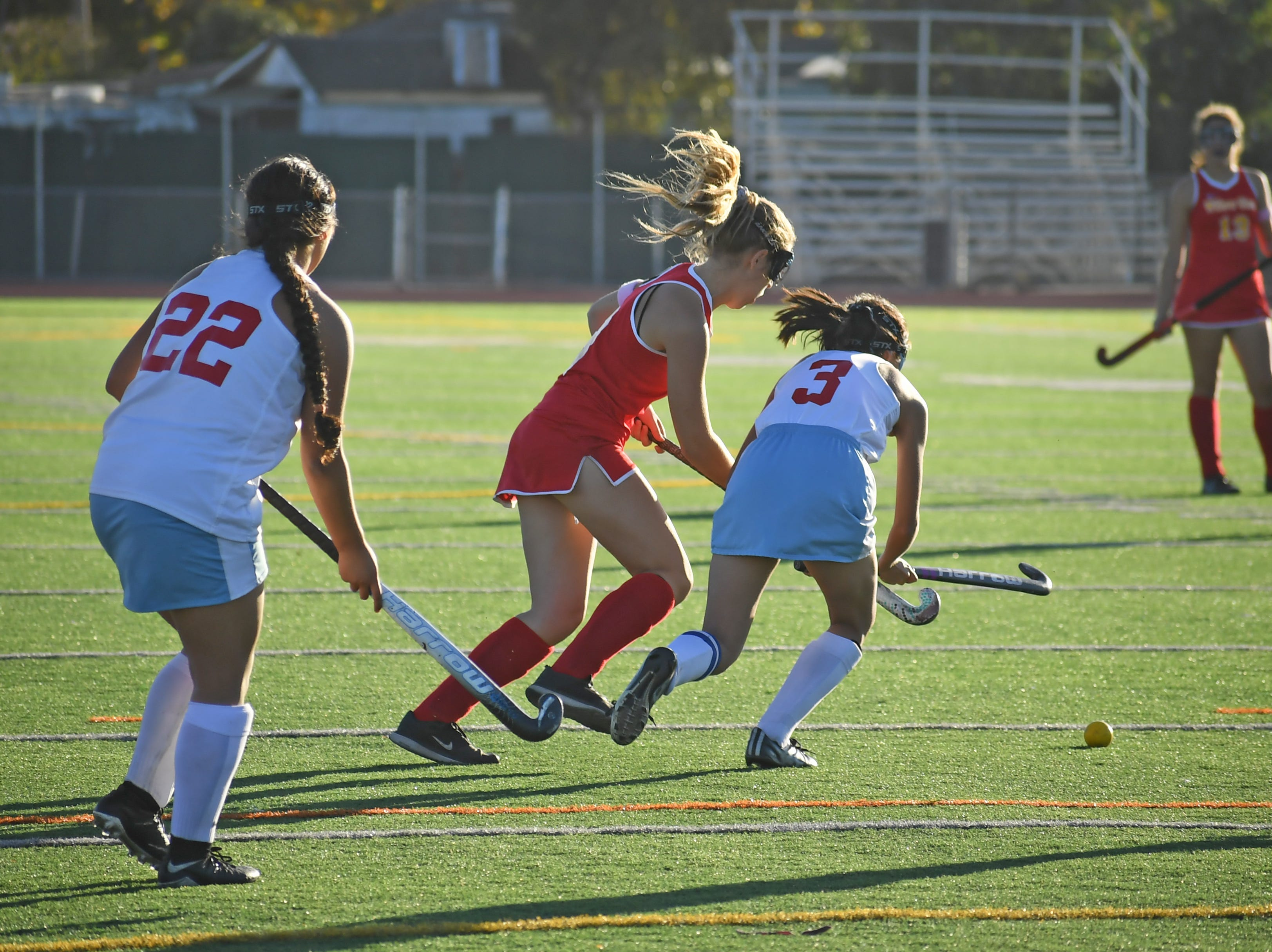 Midfielder Emily Ruelas (3) fights to gain back possession after a counterattack by Willow Glen.