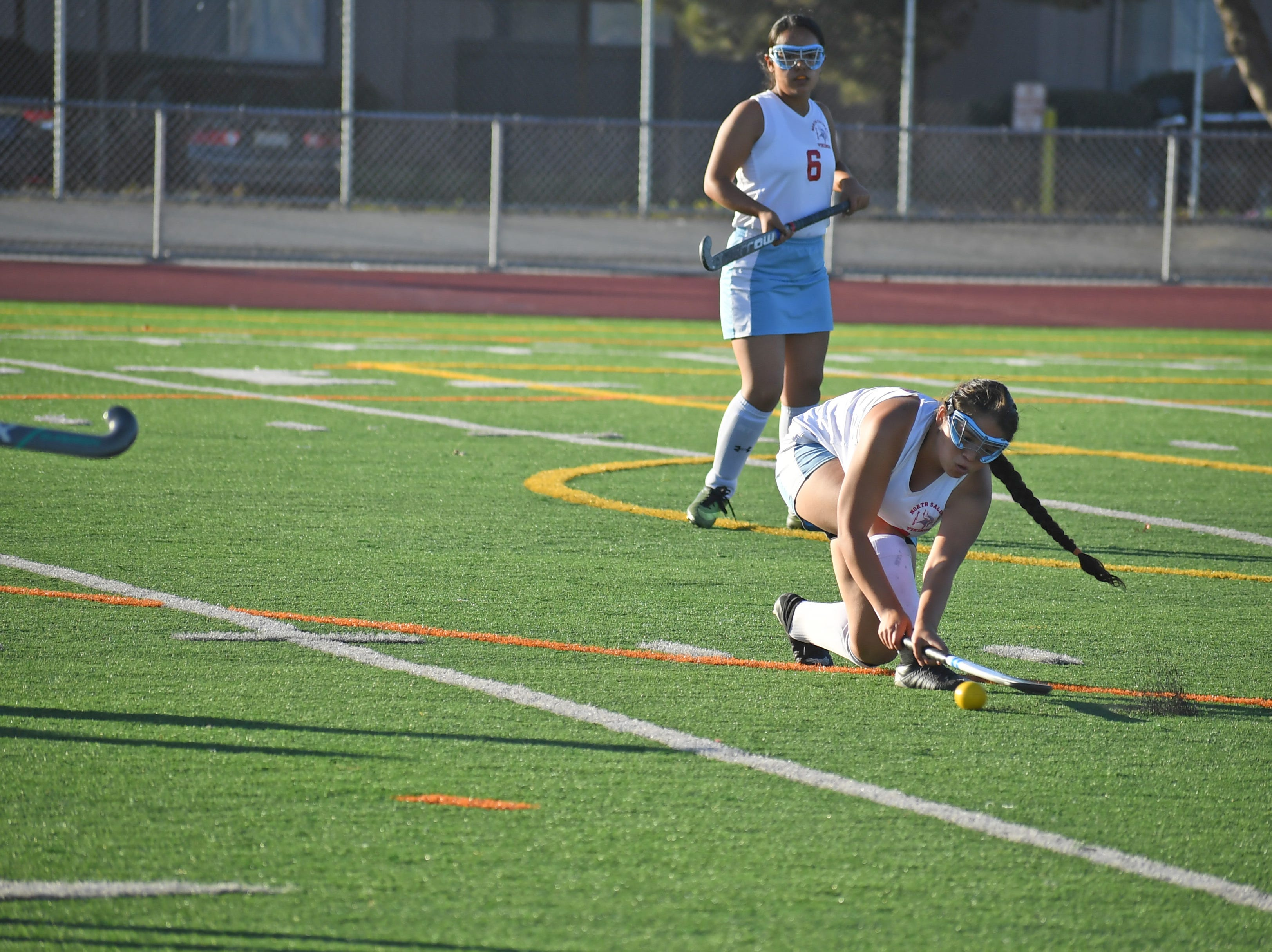 Sophomore Precious Eady (22) slides a pass to the right of goal following a shot by a Willow Glen forward.