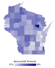 The United Way ALICE Project data breaks down Wisconsin by county, showing the spread of people struggling  financially across the state.