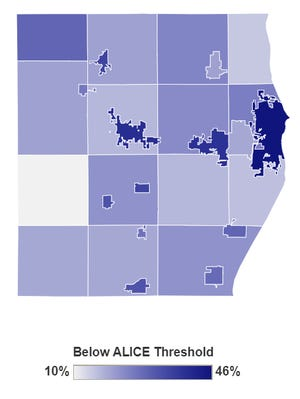 The United Way ALICE Project data shows the areas in Sheboygan County with the highest populations of people struggling financially are the cities Sheboygan, Sheboygan Falls and Plymouth and the Village of Elkhart Lake.