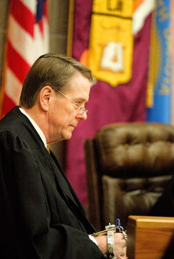 South Dakota Supreme Court Justice Steven L. Zinter hears the State v. Mulligan case in 2007.