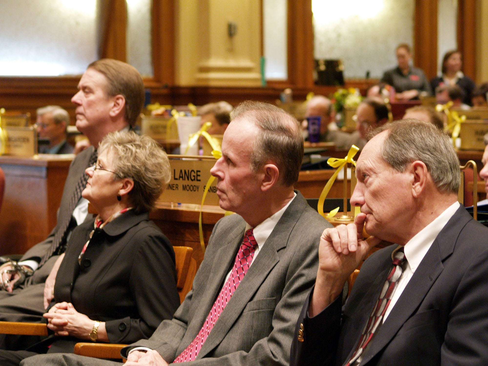 Supreme Court justices listen on Wednesday, Jan. 11, 2006, in the Statehouse in Pierre, S.D., as Chief Justice David Gilbertson gives his annual State of the Judiciary speech to the Legislature. From right are, Justices Richard W. Sabers, John K. Konenkamp, Judith Meierheny and Steven L. Zinter. (AP Photo/Joe Kafka)