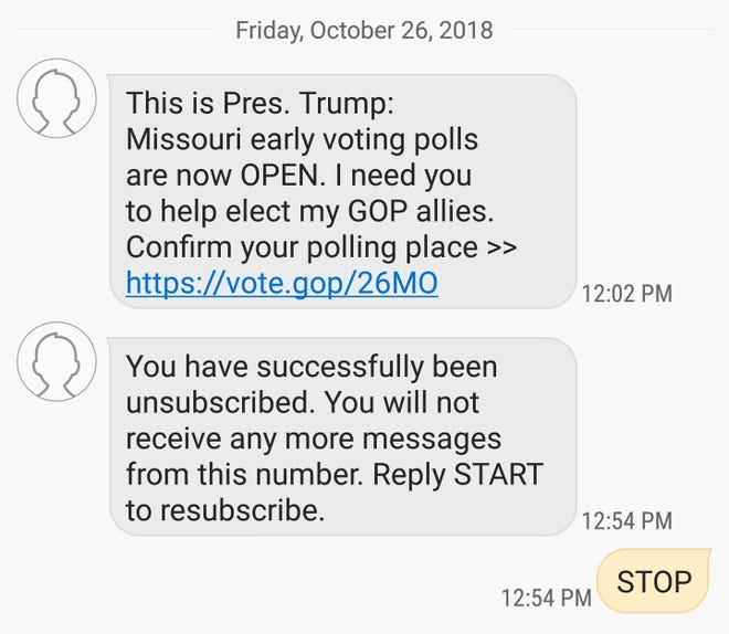 """""""Early voting"""" is not provided for under Missouri law, but it's being promoted in text messages received by Springfield residents that include a link to a website paid for by the Republican National Committee."""