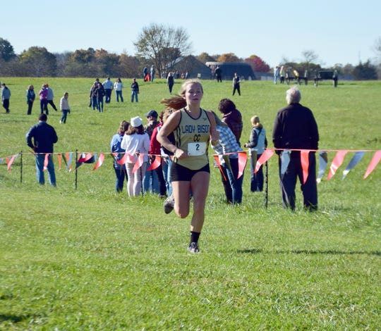 Buffalo Gap's Lexi Strange heads for the finish line of the girls race at the VHSL Class 2, Region B Cross Country Championships on Tuesday, Oct. 30, 2018, at New Market Battlefield Park in New Market, Va.