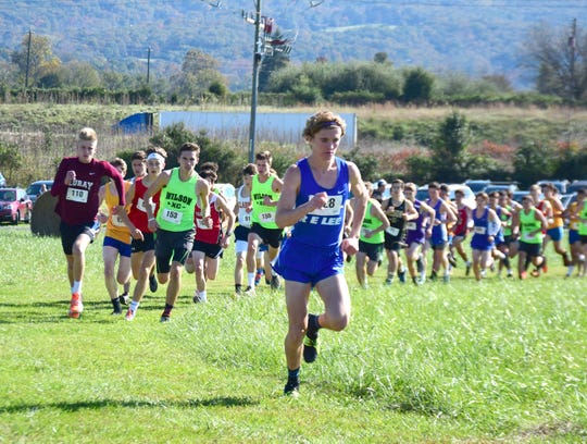 Robert E. Lee's Oliver Wilson-Cook gets out to an early lead in the boys race at the VHSL Class 2, Region B Cross Country Championships on Tuesday, Oct. 30, 2018, at New Market Battlefield Park in New Market, Va.