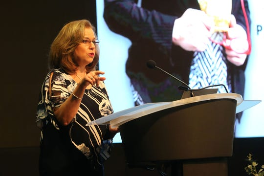 Michelle Ubben, the 2018 Women United Chair, speaks at the United Way of the Big Bend Second annual Women's Breakfast  last year. This year, a series of thank you events will recognize women leadership givers  starting with a breakfast on Sept. 25 at the home of Mayor John and Virginia Dailey, featuring Southern Living Editor in Chief Sid Evans.